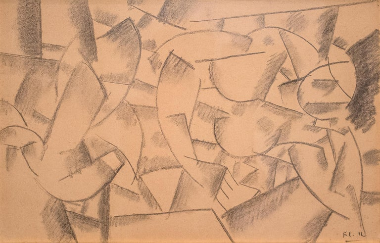 "A work by Fernand Leger. ""Femme Couchee"" is an abstract, figurative charcoal on paper depicting a nude woman by Modern artist Fernand Leger. Signed lower right, ""FL 12."" Provenance: Perls Gallery, New York Private Collection, Providence, Rhode"