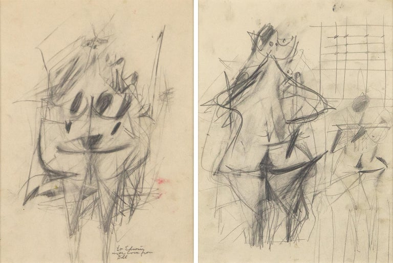 Willem de Kooning Abstract Drawing - Untitled (double-sided drawing)