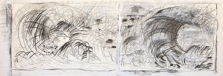 Pat Steir Abstract Drawing - Untitled (After Courbet and Hiroshige)