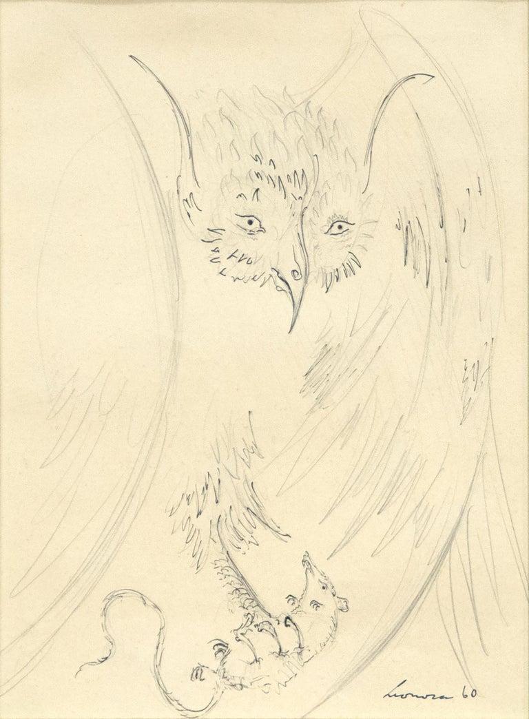 Leonora Carrington Animal Art - Owl with Prey
