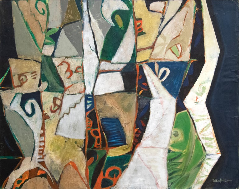 A painting by Jae Kon Park. This Untitled, abstract, oil on canvas painting is executed in a deep and saturated, varied palette of whites, grays, deep green orange, tan and black by post war, abstract, Korean artist Jae Kon Park. Jae Kon Park's work