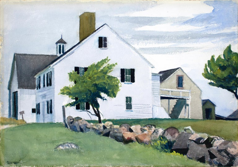 "A painting by Edward Hopper. ""Farm House at Essex"" is a watercolor on paper executed in a cool palette primarily of greens, blues and whites and depicts a white farmhouse, set against a blue sky and green grass by American artist Edward Hopper."