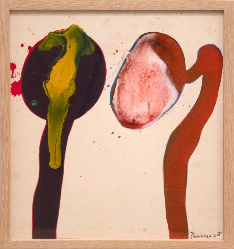 """A painting by Sadamasa Motonaga. This Untitled, abstract, acrylic on canvas painting is executed in a palette primarily of reds, pinks, yellow and green by legendary, Gutai Art Association artist Sadamasa Motonaga. Signed lower right, """"S Motonaga"""