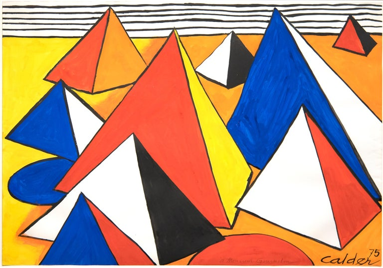 Alexander Calder Abstract Drawing - Le Pyramide Orange