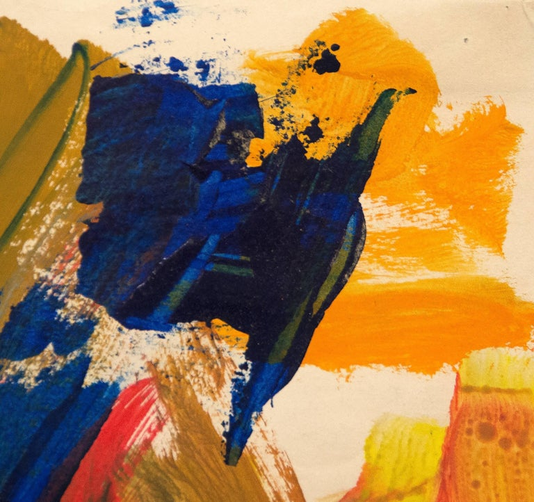 A painting by Elaine de Kooning. This untitled, abstract, tempera on paper painting is executed in lush and bright blues, reds, ochre, yellow and orange by Post War, abstract expressionist Elaine de Kooning. Signed lower right,