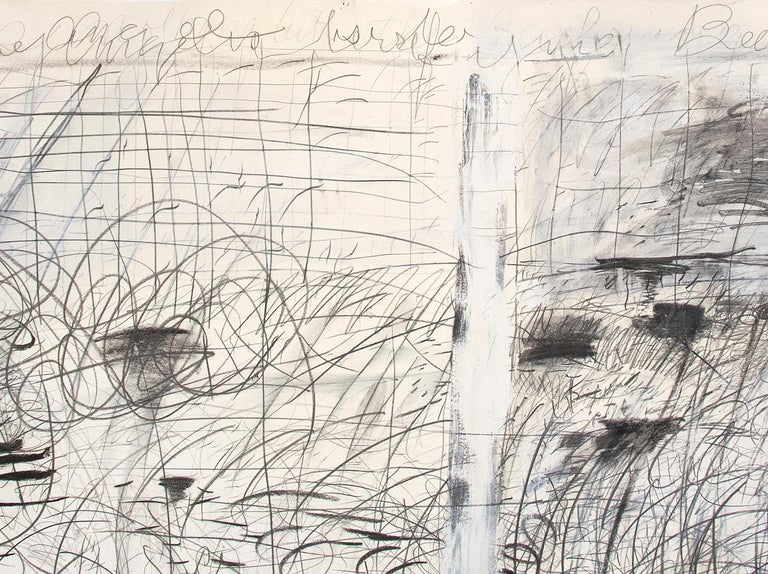 Untitled (After Courbet and Hiroshige) - Gray Abstract Drawing by Pat Steir