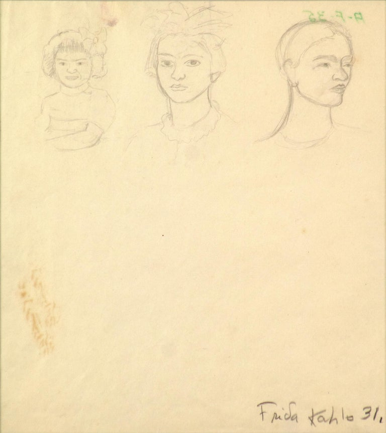 """A drawing by Frida Kahlo. """"Triple Self-Portrait as a Toddler, Adolescent, Woman"""" is a pencil on paper self-portrait drawing by Frida Kahlo. In this exceedingly rare work, """"Triple Self-Portrait as a Toddler, Adolescent, Woman,"""" Kahlo represents"""
