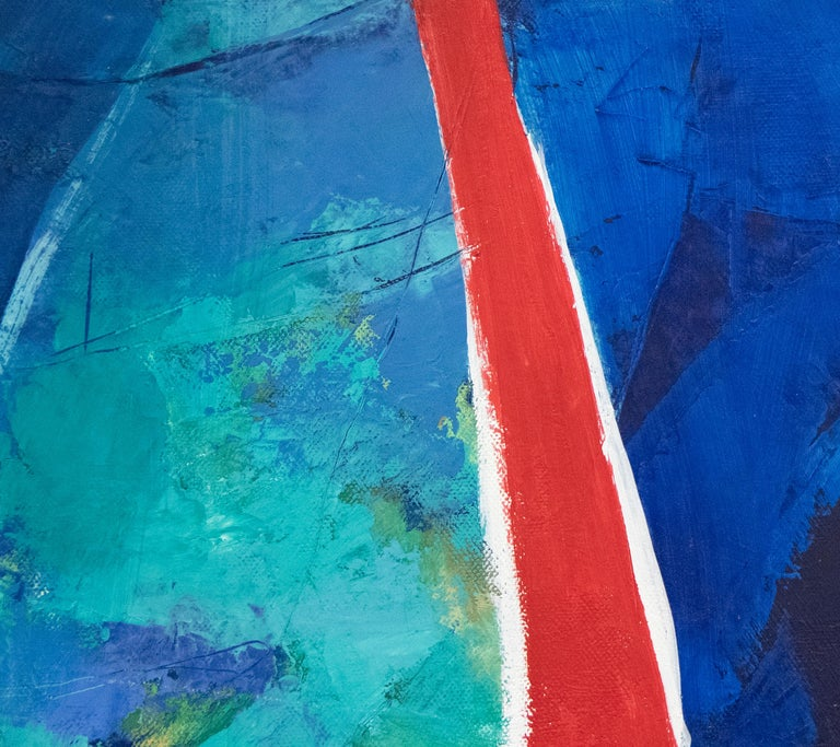 A painting by Jae Kon Park. This Untitled, oil on canvas, abstract painting is executed in a deep and lush palette primarily of blues and teals with daubs of yellow and swaths of red by post war, abstract, Korean artist Jae Kon Park. Jae Kon Parks