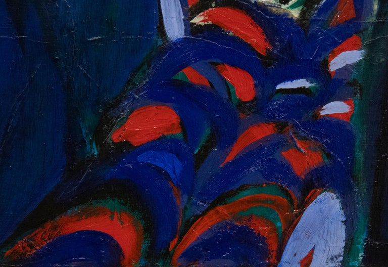 A painting by Jae Kon Park. This Untitled, abstract, oil on canvas painting is executed in a vibrant and lush palette primarily of blues, purples, red, greens and yellows by contemporary Korean artist Jae Kon Park. Signed lower right,