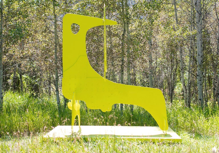 Yellow Bird Boy - Gray Abstract Sculpture by Aaron Curry