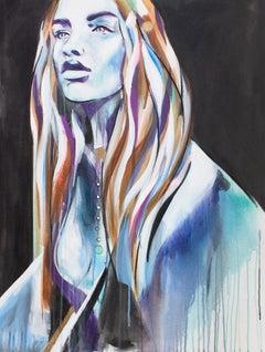 Ella by Hannah Adamaszek, spray paint portrait of a girl