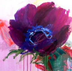 Life is a Flower by Heidi Willberg Contemporary, Abstract Floral Purple Painting