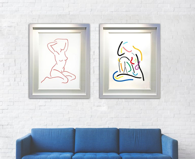 Red After Modigliani by Hock Tee Tan - Contemporary Figurative framed drawing For Sale 2