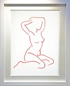 Red After Modigliani by Hock Tee Tan - Contemporary Figurative framed drawing