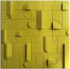 Paul Bik - Composition 87 - Contemporary Yellow Abstract geometric Painting
