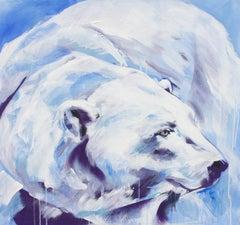 Northern Lights by Hannah Adamaszek, spray paint portrait of a polar bear