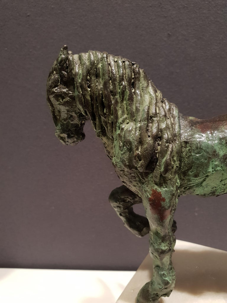 Lady Godiva by Helle Crawford, Bronze sculpture of a horse carrying a woman For Sale 4
