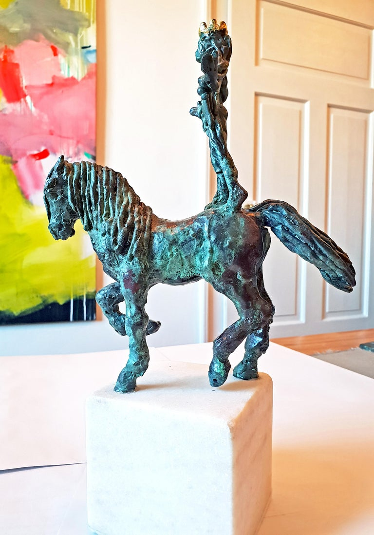 Lady Godiva by Helle Crawford, Bronze sculpture of a horse carrying a woman - Gold Figurative Sculpture by Helle Rask Crawford