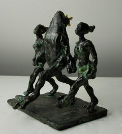 Riverdance for Frog Prince by Helle Crawford, Green Black Bronze sculpture