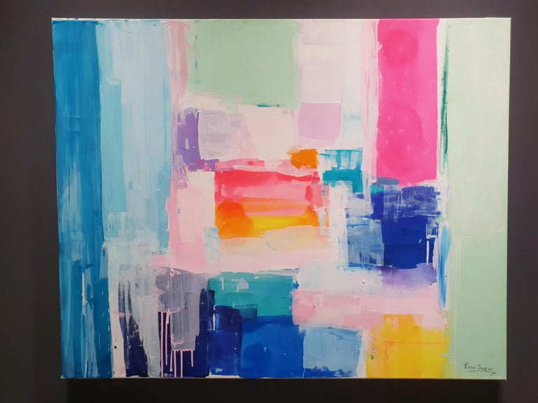 Summer days by Kirsten Jackson, modern contemporary colorful abstract pink blue - Painting by Kirsten Jackson