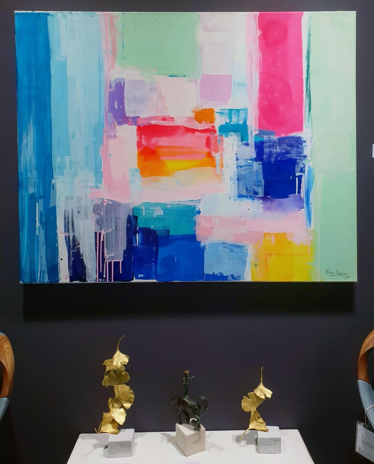 Summer days by Kirsten Jackson, modern contemporary colorful abstract pink blue For Sale 5