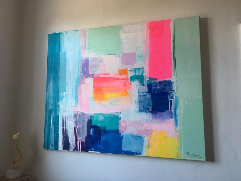 Summer days by Kirsten Jackson, modern contemporary colorful abstract pink blue For Sale 6