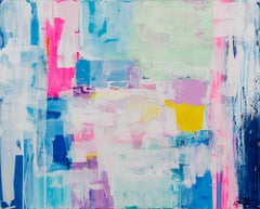 Summer love Story by Kirsten Jackson, modern contemporary colorful abstract blue