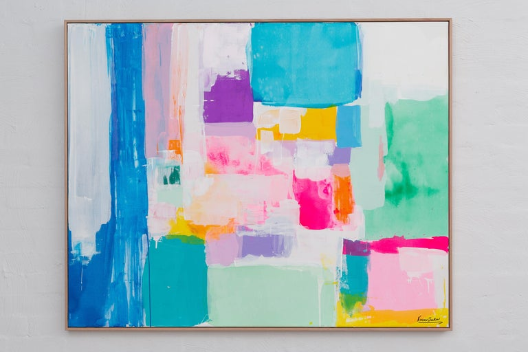 Kirsten Jackson  Abstract Painting - Summer days in Love by Kirsten Jackson, modern contemporary colorful abstract