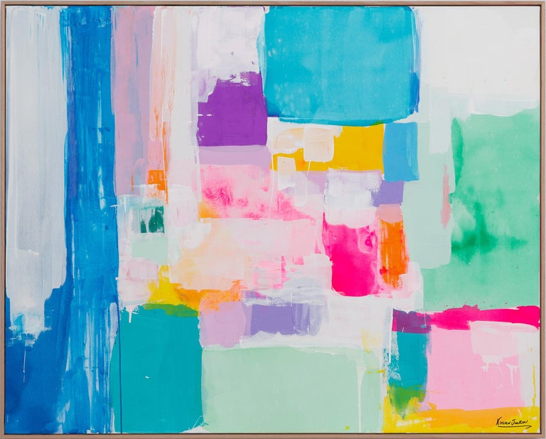Summer days in Love by Kirsten Jackson, modern contemporary colorful abstract  - Painting by Kirsten Jackson