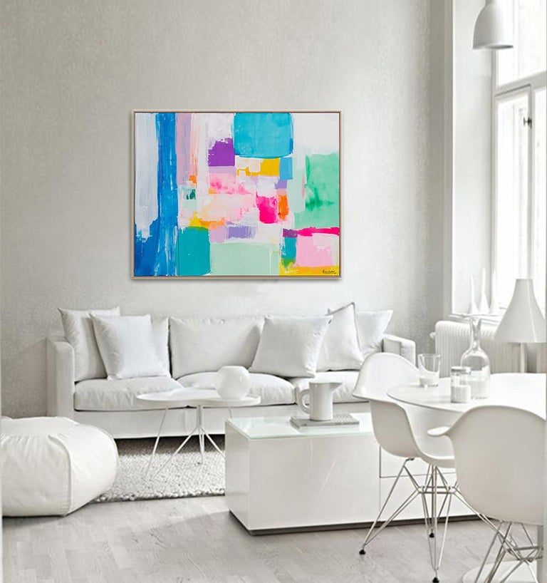 Summer days in Love by Kirsten Jackson, modern contemporary colorful abstract  - Abstract Painting by Kirsten Jackson