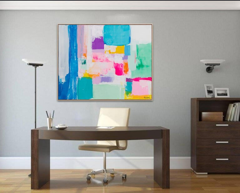Summer days in Love by Kirsten Jackson, modern contemporary colorful abstract  - Gray Abstract Painting by Kirsten Jackson