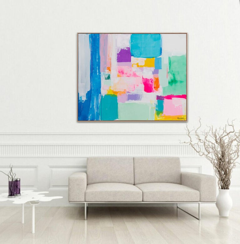 Summer days in Love by Australian artist Kirsten Jackson is a stunning contemporary piece full of bright and energetic colors. It's fits perfectly into modern and contemporary interiors adding positive vibes and colors.  Size:120 x 150