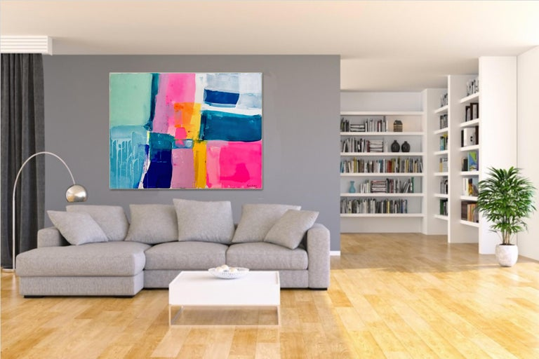 Summertime by Australian artist Kirsten Jackson is a stunning contemporary piece full of bright and energetic colors. It's fits perfectly into modern and contemporary interiors adding positive vibes and colors.  Size: 90 x 120 cm