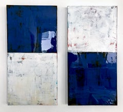 Indigo Blue by Claudia Küster - white and blue contemporary painting with Resin