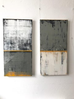 Serenity by Claudia Küster - white and blue contemporary painting with Resin