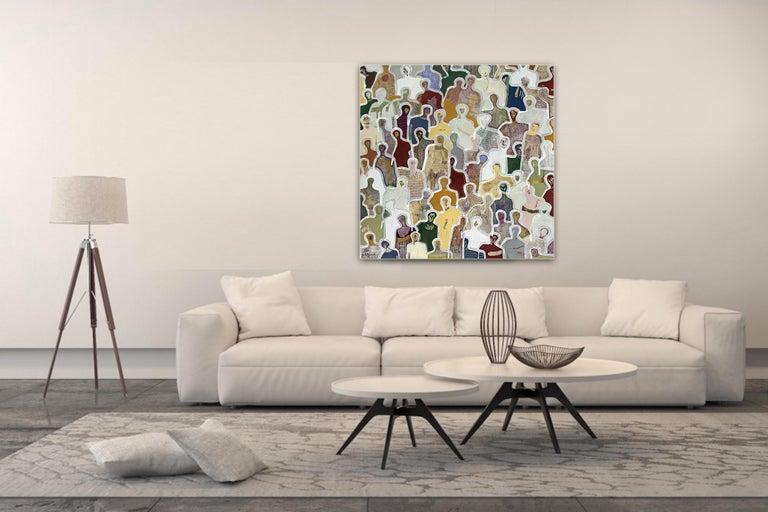 Beautiful Faces by Gaetan de Seguin -contemporary abstract & figurative painting - Painting by Gaëtan de Seguin