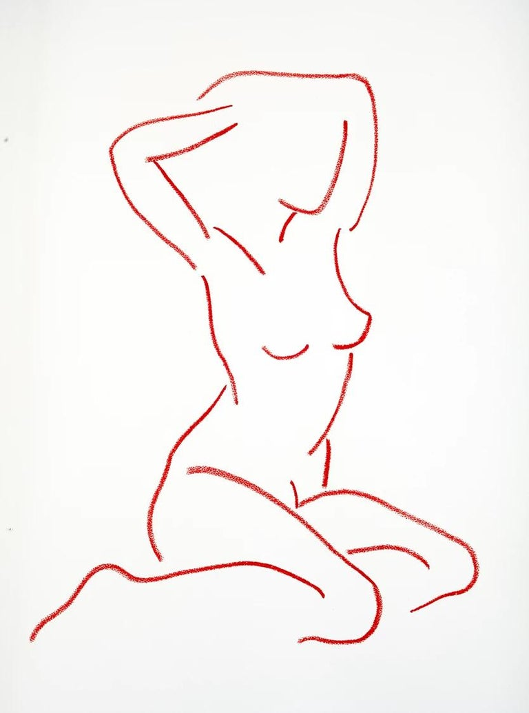 Red After Modigliani by Hock Tee Tan - Contemporary Figurative framed drawing For Sale 3