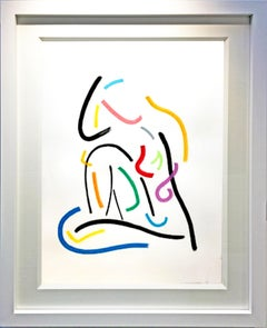 Inspired by Modigliano by Hock Tee Tan - Contemporary Figurative framed drawing