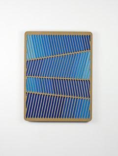 Blue Glitch Daniel Engelberg -mid-century modern feel contemporary epoxy artwork