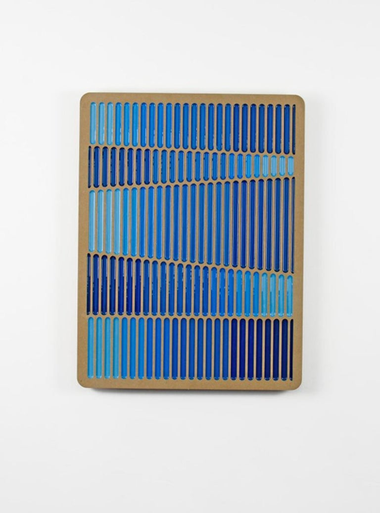 Blue Glitch 2 Daniel Engelberg -mid-century modern, contemporary epoxy  artwork