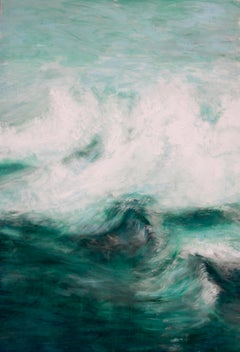 White Waves by Bettina Bohn - Blue contemporary seascape painting of ocean waves