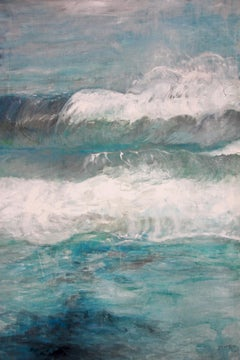 By the Water by Bettina Bohn -Blue contemporary seascape painting of ocean waves