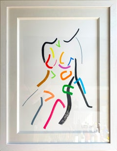 After Modigliani by Hock Tee Tan - Contemporary Figurative framed drawing