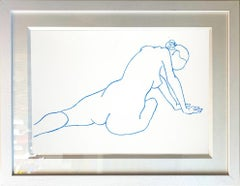 Nude Study in Blue by Hock Tee Tan - Contemporary Figurative framed drawing