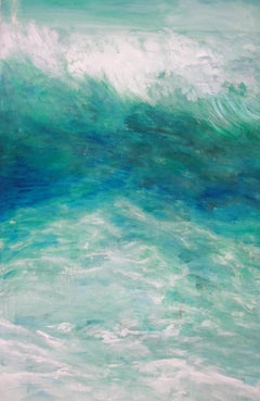 Turquoise Crash- Bettina Bohn-Blue contemporary seascape painting of ocean waves