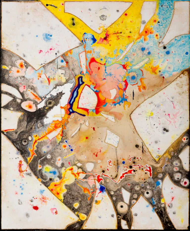"""Artist: Detlef E. Aderhold  Medium: Mixed Media on Canvas  Edition: Original Abstract Painting in Yellow, Blue, Red and Black   About the Artist:  Detlef E. Aderhold is a contemporary abstract painter from Germany.  """"Detlef Aderhold's colourful,"""