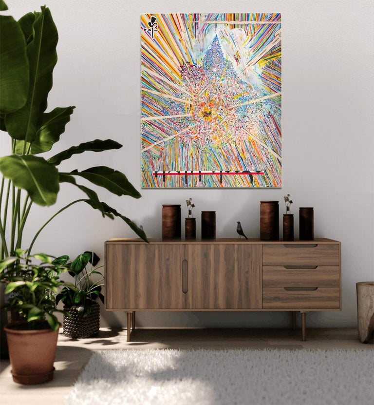Center 1 by Detlef Aderhold - Large Energetic Contemporary Abstract Painting - Beige Interior Painting by Detlef E. Aderhold