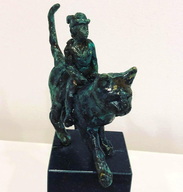 Catwoman by Helle Crawford, Contemporary Green Black Bronze Cat Sculpture For Sale 2