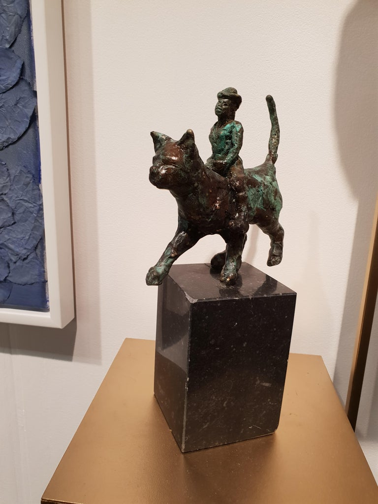 Catwoman by Helle Crawford, Contemporary Green Black Bronze Cat Sculpture For Sale 4