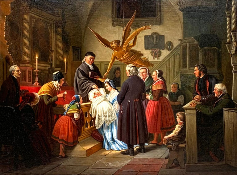 The baptism is an original oil painting by Ludwig August Most ( 1807-1883) painted in 1860.   About the Gallery: Folly and Muse was established in 2015 in London to find and collaborate with the most creative, talented, emerging and mid-career